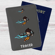 Lena Oxton Overwatch Custom Leather Passport Wallet Case Cover