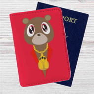 Yeezy Bear Kanye West Custom Leather Passport Wallet Case Cover
