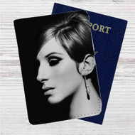 Barbra Streisand Face Custom Leather Passport Wallet Case Cover