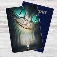 Cheshire Cat Alice in Wonderland Custom Leather Passport Wallet Case Cover