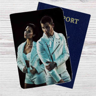 Demi Lovato and Nick Jonas Custom Leather Passport Wallet Case Cover