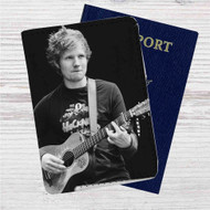 Ed Sheeran With Guitar Custom Leather Passport Wallet Case Cover