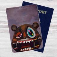 Kanye West Dark Bear Custom Leather Passport Wallet Case Cover