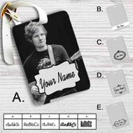 Ed Sheeran With Guitar Custom Leather Luggage Tag
