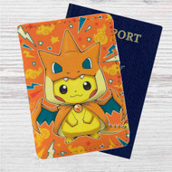 Pikachu as Mega Charizard Pokemon Custom Leather Passport Wallet Case Cover