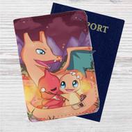Pokefamily Vacation Charmander Custom Leather Passport Wallet Case Cover