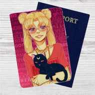 Sailor Moon Hipster Custom Leather Passport Wallet Case Cover