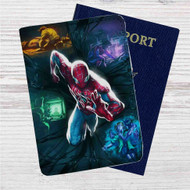 Spiderman Running Custom Leather Passport Wallet Case Cover