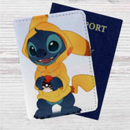 Stitch as Pikachu Pokemon Custom Leather Passport Wallet Case Cover
