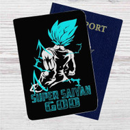 Vegeta Super Saiyan God Blue Custom Leather Passport Wallet Case Cover