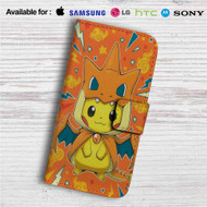 Pikachu as Mega Charizard Pokemon Custom Leather Wallet iPhone 4/4S 5S/C 6/6S Plus 7| Samsung Galaxy S4 S5 S6 S7 Note 3 4 5| LG G2 G3 G4| Motorola Moto X X2 Nexus 6| Sony Z3 Z4 Mini| HTC ONE X M7 M8 M9 Case
