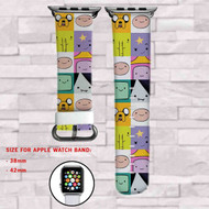 Adventure Time Jake Finn and Friends Custom Apple Watch Band Leather Strap Wrist Band Replacement 38mm 42mm