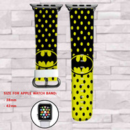 Batman Superheroes DC Comics Polkadot Custom Apple Watch Band Leather Strap Wrist Band Replacement 38mm 42mm