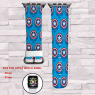 Captain America Shield The Avengers Custom Apple Watch Band Leather Strap Wrist Band Replacement 38mm 42mm