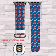 Captain America Custom Apple Watch Band Leather Strap Wrist Band Replacement 38mm 42mm