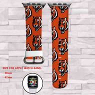 Cincinnati Bengals Custom Apple Watch Band Leather Strap Wrist Band Replacement 38mm 42mm