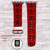 Deadpool Marvel Superheroes Custom Apple Watch Band Leather Strap Wrist Band Replacement 38mm 42mm