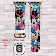 Disney Mickey Mouse Minnie Mouse and Friends Custom Apple Watch Band Leather Strap Wrist Band Replacement 38mm 42mm