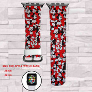 Disney Mickey Mouse Pattern Custom Apple Watch Band Leather Strap Wrist Band Replacement 38mm 42mm