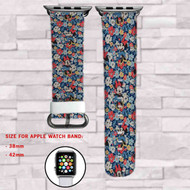 Flowers Mickey Mouse Disney Custom Apple Watch Band Leather Strap Wrist Band Replacement 38mm 42mm