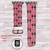 Kiss Minnie Mouse Disney Custom Apple Watch Band Leather Strap Wrist Band Replacement 38mm 42mm