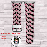 Mickey and Minnie Mouse Disney Love Custom Apple Watch Band Leather Strap Wrist Band Replacement 38mm 42mm