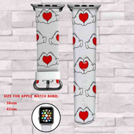 Mickey Hand Disney Disney Love Custom Apple Watch Band Leather Strap Wrist Band Replacement 38mm 42mm