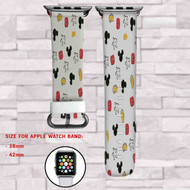 Mickey Mouse Hands and Cloths Custom Apple Watch Band Leather Strap Wrist Band Replacement 38mm 42mm