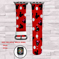 Mickey Mouse Minnie Mouse Custom Apple Watch Band Leather Strap Wrist Band Replacement 38mm 42mm