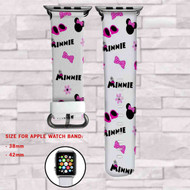 Minnie Mouse Disney Pink Custom Apple Watch Band Leather Strap Wrist Band Replacement 38mm 42mm