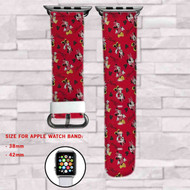 Minnie Mouse Disney Red Custom Apple Watch Band Leather Strap Wrist Band Replacement 38mm 42mm