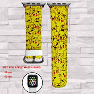Pikachu Pokemon 2 Custom Apple Watch Band Leather Strap Wrist Band Replacement 38mm 42mm