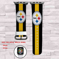 Pittsburgh Steelers Custom Apple Watch Band Leather Strap Wrist Band Replacement 38mm 42mm