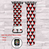 Red Minnie Mouse Love Custom Apple Watch Band Leather Strap Wrist Band Replacement 38mm 42mm