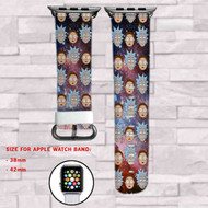Rick and Morty Galaxy Custom Apple Watch Band Leather Strap Wrist Band Replacement 38mm 42mm