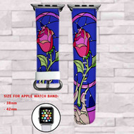 Rose Beauty and The Beast Disney Custom Apple Watch Band Leather Strap Wrist Band Replacement 38mm 42mm