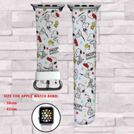 Snoopy and Woodstock Custom Apple Watch Band Leather Strap Wrist Band Replacement 38mm 42mm