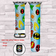 Superheroes All Marvel DC Comics Custom Apple Watch Band Leather Strap Wrist Band Replacement 38mm 42mm