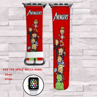 The Avengers Chibi Custom Apple Watch Band Leather Strap Wrist Band Replacement 38mm 42mm