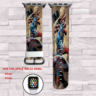 Captain America Marvel Custom Apple Watch Band Leather Strap Wrist Band Replacement 38mm 42mm