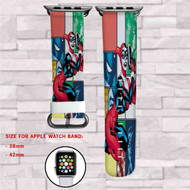 Harley Quinn DC Comics Custom Apple Watch Band Leather Strap Wrist Band Replacement 38mm 42mm