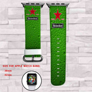Heineken Beer Custom Apple Watch Band Leather Strap Wrist Band Replacement 38mm 42mm