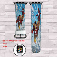 Iron Man Marvel Custom Apple Watch Band Leather Strap Wrist Band Replacement 38mm 42mm