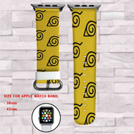Konoha Naruto Shippuden Custom Apple Watch Band Leather Strap Wrist Band Replacement 38mm 42mm