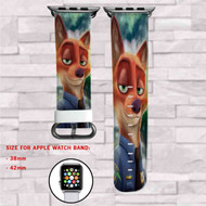 Lt Nick Wilde Zootopia Disney Custom Apple Watch Band Leather Strap Wrist Band Replacement 38mm 42mm