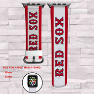 Boston Red Sox MLB Custom Apple Watch Band Leather Strap Wrist Band Replacement 38mm 42mm