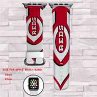 Cincinnati Reds MLB Custom Apple Watch Band Leather Strap Wrist Band Replacement 38mm 42mm
