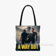 A Way Out Custom Personalized Tote Bag Polyester with Small Medium Large Size