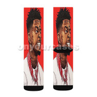 21 Savage Custom Sublimation Printed Socks Polyester Acrylic Nylon Spandex with Small Medium Large Size