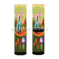 Alice in Wonderland Custom Sublimation Printed Socks Polyester Acrylic Nylon Spandex with Small Medium Large Size